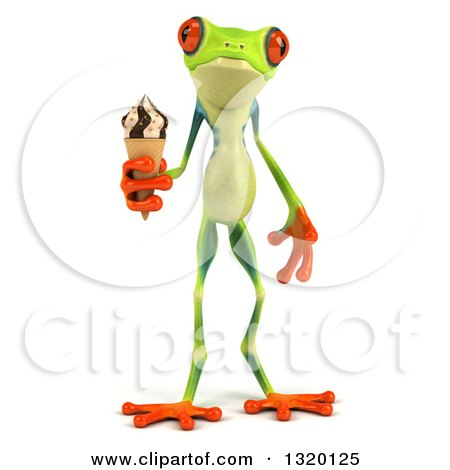 Clipart of a 3d Argie Frog Holding a Waffle Ice Cream Cone - Royalty Free Illustration by Julos