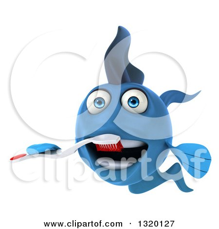 Clipart of a 3d Blue Fish Brushing His Teeth - Royalty Free Illustration by Julos