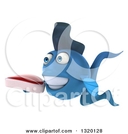 Clipart of a 3d Blue Fish Facing Slightly Left and Holding a Beef Steak - Royalty Free Illustration by Julos