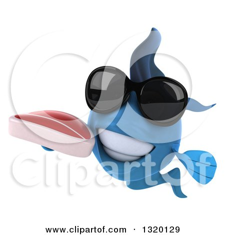 Clipart of a 3d Blue Fish Wearing Sunglasses and Holding a Beef Steak - Royalty Free Illustration by Julos