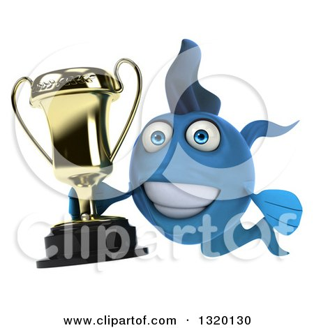 Clipart of a 3d Blue Fish Holding a Trophy - Royalty Free Illustration by Julos