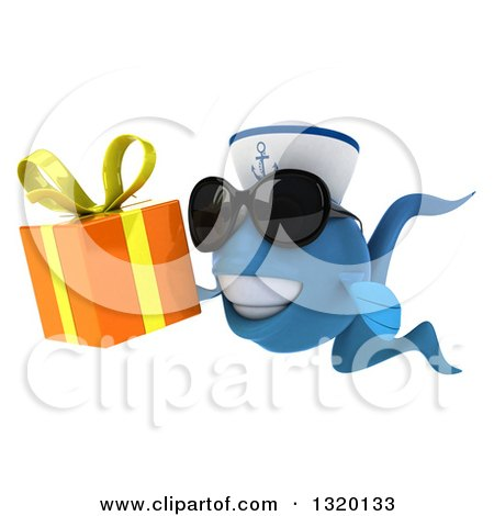 Clipart of a 3d Happy Blue Sailor Fish Wearing Sunglasses, Facing Left and Holding a Gift - Royalty Free Illustration by Julos