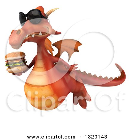 Clipart of a 3d Red Dragon Wearing Sunglasses, Flying to the Left and Holding a Double Cheeseburger - Royalty Free Illustration by Julos