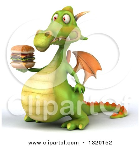 Clipart of a 3d Green Dragon Facing Facing Left and Holding a Double Cheeseburger - Royalty Free Illustration by Julos