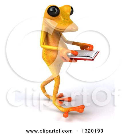 Clipart of a 3d Yellow Springer Frog Walking to the Right and Reading a Book - Royalty Free Illustration by Julos