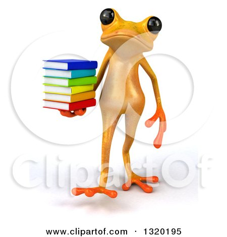 Clipart of a 3d Yellow Springer Frog Walking and Holding a Stack of Books - Royalty Free Illustration by Julos