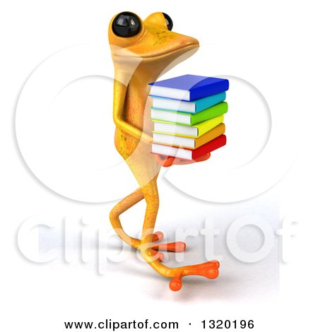 Clipart of a 3d Yellow Springer Frog Walking to the Right and Holding a Stack of Books - Royalty Free Illustration by Julos