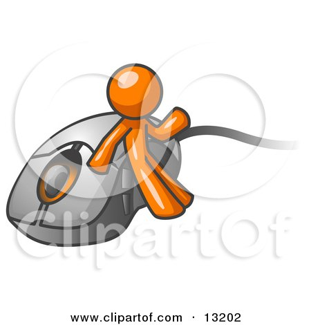 Orange Man Leaning Against a Computer Mouse Clipart Illustration by Leo Blanchette