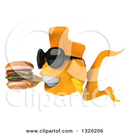 Clipart of a 3d Happy Yellow Fish Wearing Sunglasses, Facing Left and Holding a Double Cheeseburger - Royalty Free Illustration by Julos