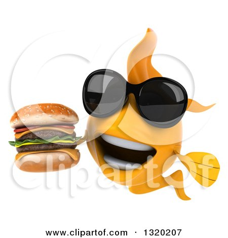 Clipart of a 3d Happy Yellow Fish Wearing Sunglasses and Holding a Double Cheeseburger - Royalty Free Illustration by Julos