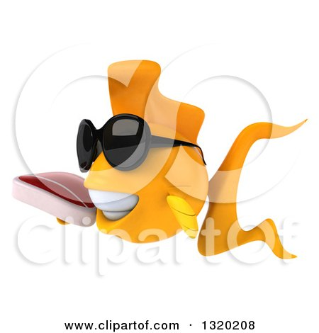 Clipart of a 3d Happy Yellow Fish Wearing Sunglasses, Facing Left and Holding a Beef Steak - Royalty Free Illustration by Julos