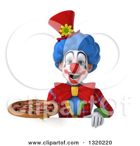 Clipart of a 3d Colorful Clown Holding a Pizza over a Sign - Royalty Free Illustration by Julos