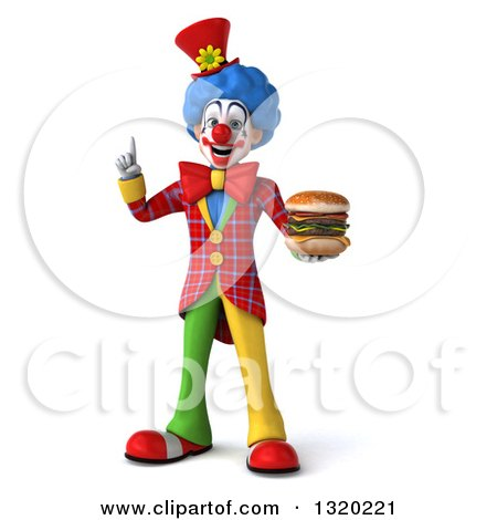 Clipart of a 3d Colorful Clown Holding up a Finger and a Double Cheeseburger - Royalty Free Illustration by Julos