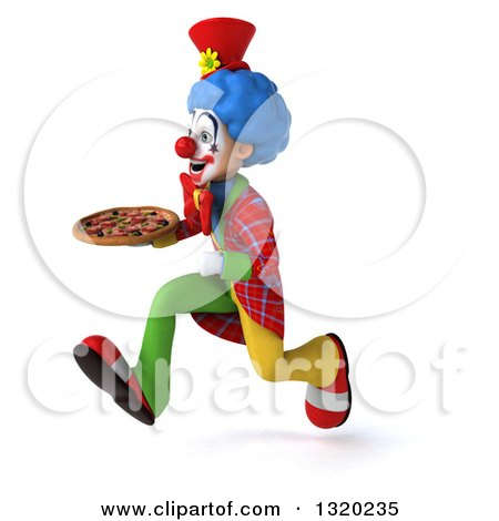 Clipart of a 3d Colorful Clown Sprinting to the Left with a Pizza - Royalty Free Illustration by Julos