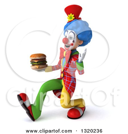 Clipart of a 3d Colorful Clown Speed Walking to the Left, Waving and Holding a Double Cheeseburger - Royalty Free Illustration by Julos