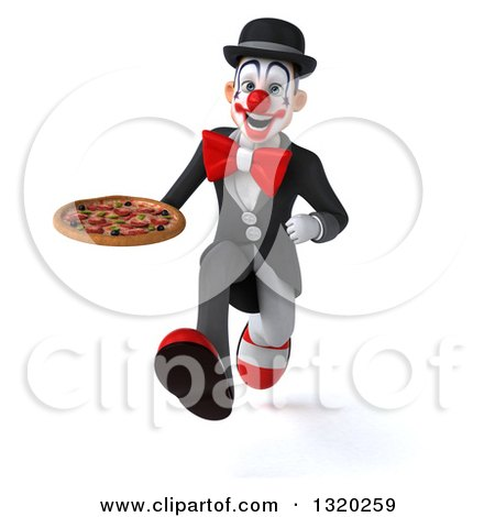 Clipart of a 3d White and Black Clown Sprinting and Holding a Pizza - Royalty Free Illustration by Julos