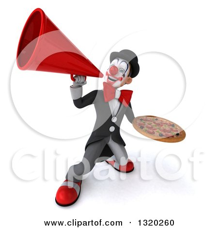 Clipart of a 3d White and Black Clown Holding a Pizza and Using a Megaphone - Royalty Free Illustration by Julos