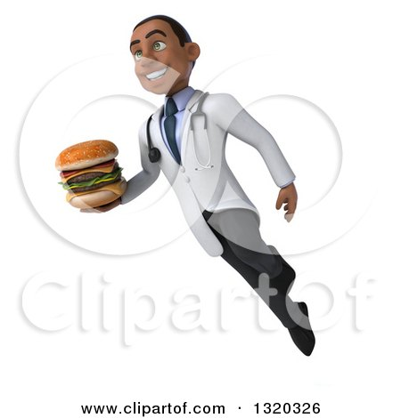 Clipart of a 3d Young Black Male Nutritionist Doctor Floating and Holding a Double Cheeseburger - Royalty Free Illustration by Julos