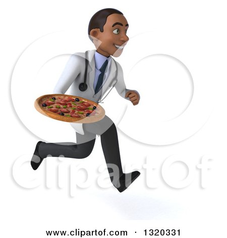 Clipart of a 3d Young Black Male Nutritionist Doctor Sprinting to the Right and Holding a Pizza - Royalty Free Illustration by Julos
