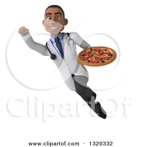 Clipart of a 3d Young Black Male Nutritionist Doctor Flying and Holding a Pizza - Royalty Free Illustration by Julos