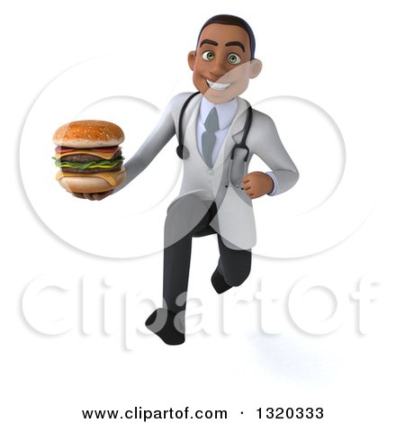 Clipart of a 3d Young Black Male Nutritionist Doctor Sprinting and Holding a Double Cheeseburger - Royalty Free Illustration by Julos