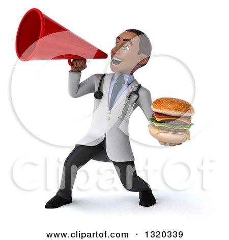 Clipart of a 3d Young Black Male Nutritionist Doctor Holding a Double Cheeseburger and Announcing to the Left with a Megaphone - Royalty Free Illustration by Julos