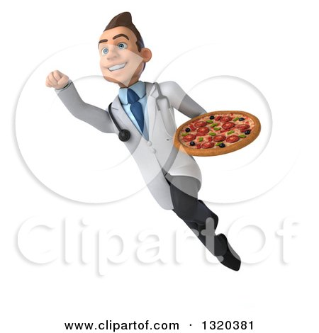 Clipart of a 3d Young Brunette White Male Nutritionist Doctor Holding a Pizza and Flying - Royalty Free Illustration by Julos