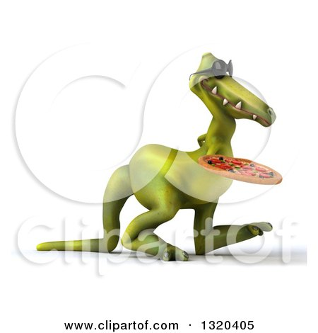 Clipart of a 3d Green Dinosaur Wearing Sunglasses Walking to the Right with a Pizza - Royalty Free Illustration by Julos