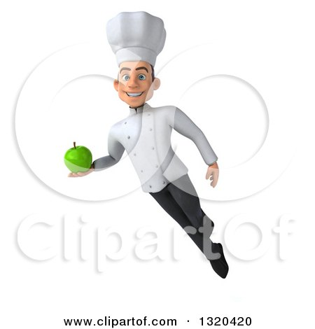 Clipart of a 3d Young White Male Chef Floating and Holding a Green Apple - Royalty Free Illustration by Julos