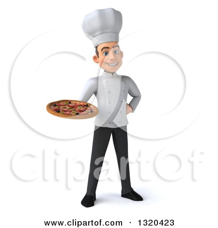 Clipart of a 3d Young White Male Chef Holding a Pizza - Royalty Free Illustration by Julos