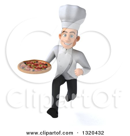 Clipart of a 3d Young White Male Chef Sprinting with a Pizza - Royalty Free Illustration by Julos