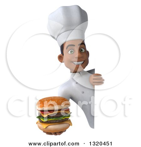 Clipart of a 3d Young Black Male Chef Holding a Double Cheeseburger Around a Sign - Royalty Free Illustration by Julos