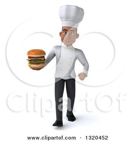 Clipart of a 3d Young Black Male Chef Walking and Holding a Double Cheeseburger - Royalty Free Illustration by Julos