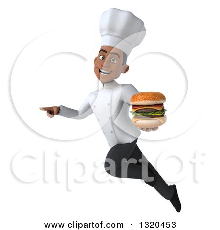 Clipart of a 3d Young Black Male Chef Flying, Pointing and Holding a Double Cheeseburger - Royalty Free Illustration by Julos
