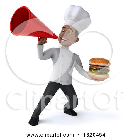 Clipart of a 3d Young Black Male Chef Holding a Double Cheeseburger and Announcing with a Megaphone - Royalty Free Illustration by Julos