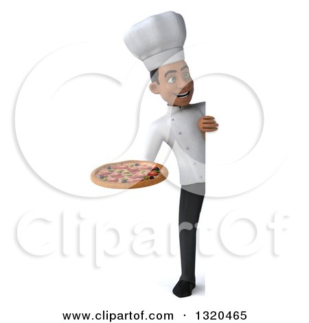 Clipart of a 3d Full Length Young Black Male Chef Holding a Pizza and Looking Around a Sign - Royalty Free Illustration by Julos