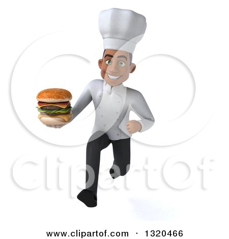 Clipart of a 3d Young Black Male Chef Sprinting and Holding a Double Cheeseburger - Royalty Free Illustration by Julos