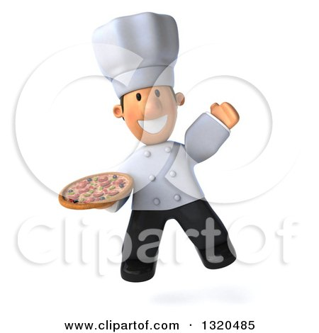 Clipart of a 3d Short White Male Chef Jumping and Holding a Pizza - Royalty Free Illustration by Julos