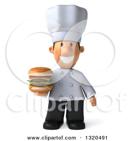 Clipart of a 3d Short White Male Chef Holding a Double Cheeseburger - Royalty Free Illustration by Julos