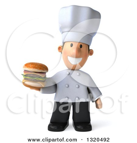 Clipart of a 3d Short White Male Chef Holding a Double Cheeseburger 2 - Royalty Free Illustration by Julos