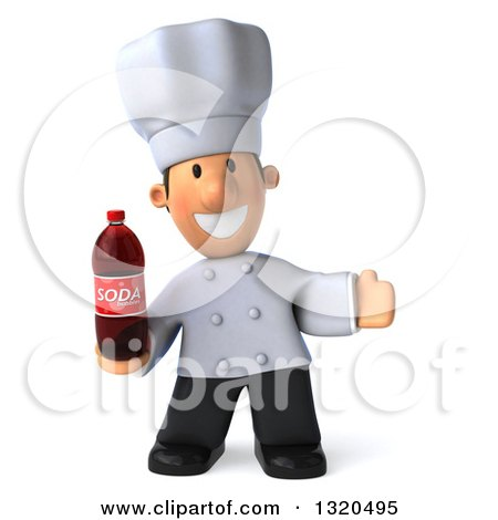 Clipart of a 3d Short White Male Chef Welcoming and Holding a Soda Bottle - Royalty Free Illustration by Julos