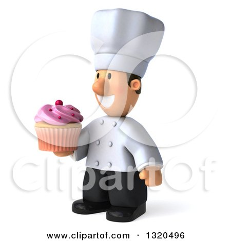 Clipart of a 3d Short White Male Chef Facing Left and Holding a Pink Frosted Cupcake - Royalty Free Illustration by Julos