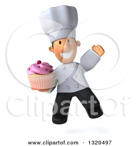 Clipart of a 3d Short White Male Chef Jumping and Holding a Pink Frosted Cupcake - Royalty Free Illustration by Julos