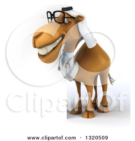Clipart of a 3d Bespectacled Arabian Doctor Camel Looking Around a Sign 2 - Royalty Free Illustration by Julos