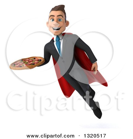 Clipart of a 3d Happy Young White Super Businessman Flying and Holding a Pizza - Royalty Free Illustration by Julos