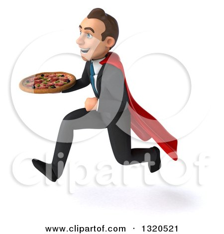 Clipart of a 3d Happy Young White Super Businessman Sprinting to the Left and Holding a Pizza - Royalty Free Illustration by Julos