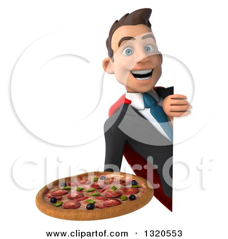 Clipart of a 3d Happy Young White Super Businessman Holding a Pizza Around a Sign - Royalty Free Illustration by Julos