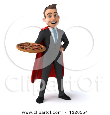 Clipart of a 3d Happy Young White Super Businessman Holding a Pizza - Royalty Free Illustration by Julos