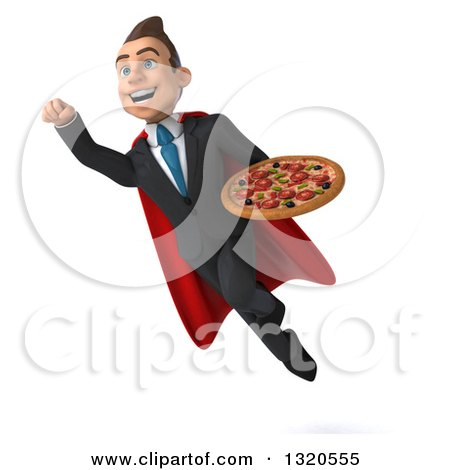 Clipart of a 3d Happy Young White Super Businessman Flying and Holding a Pizza 2 - Royalty Free Illustration by Julos