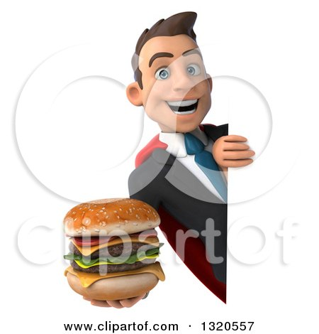 Clipart of a 3d Happy Young White Super Businessman Holding a Double Cheeseburger Around a Sign - Royalty Free Illustration by Julos